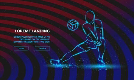 Volleyball player plays volleyball. Vector Sport Background for Landing Page Template.