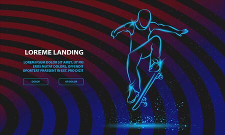 Ollie by skateboarder guy. Vector Sport Background for Landing Page Template.