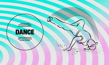 Breakdance freeze. Vector outline of Breakdance sport illustration.