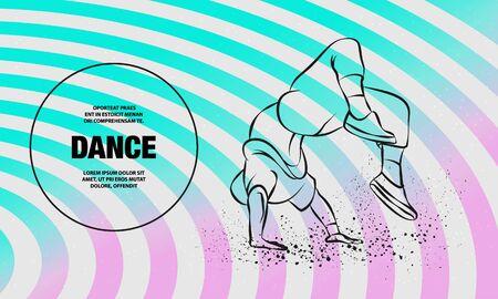 Breakdancer doing a back flip. The man is dancing hip hop style. Vector outline of Breakdance illustration. Stock Illustratie