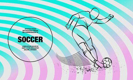 Patada engañosa del jugador de fútbol. Esquema de vector de ilustración de deporte de jugador de fútbol. Ilustración de vector
