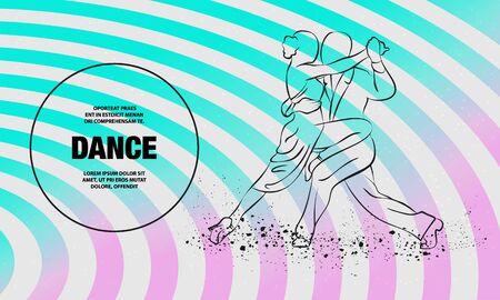 Couple dancing tango. Vector outline of tango dance illustration.