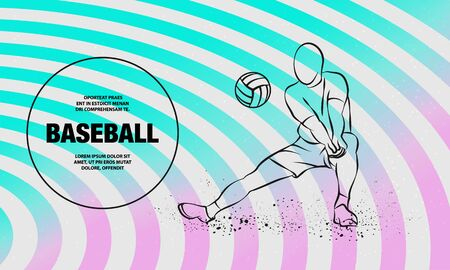 Volleyball player plays volleyball. Vector outline of volleyball player sport illustration. Иллюстрация