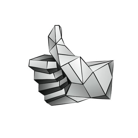 Vector low poly thumb up modeling on a white background. Vector geometric like icon in 3D polygon style Ilustração