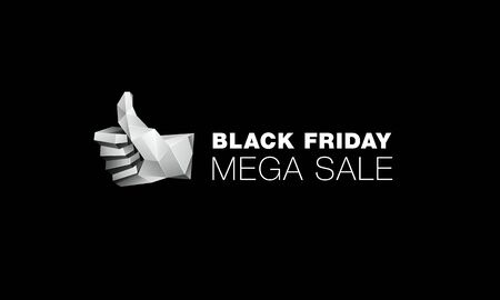 Black friday mega sale banner with Low poly thumb up icon on black background 일러스트