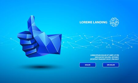 Blue low poly thumb up symbol. Vector Technology Background for Landing Page Template