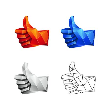 Low poly thumb up icons set on a white background. Vector geometric like symbol in 3D polygon style