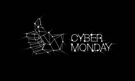 Cyber monday banner with Low poly thumb up icon on black background