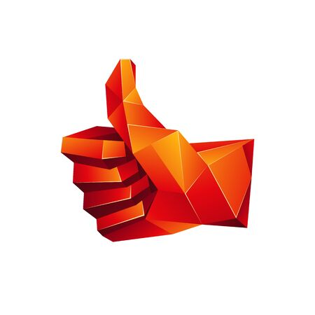 Red low poly thumb up icon on a white background. Vector geometric like symbol in 3D polygon style