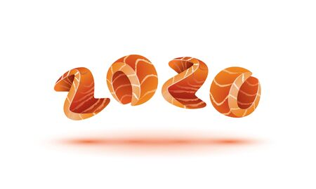 Happy New Year 2020 text design. Salmon style numbers for sushi calendar background. Banque d'images - 130792475