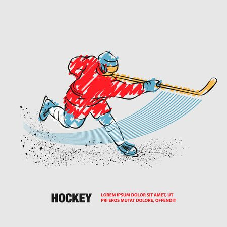 Hockey player shoots the puck with a hockey stick. Vector outline of hockey player with scribble doodles.