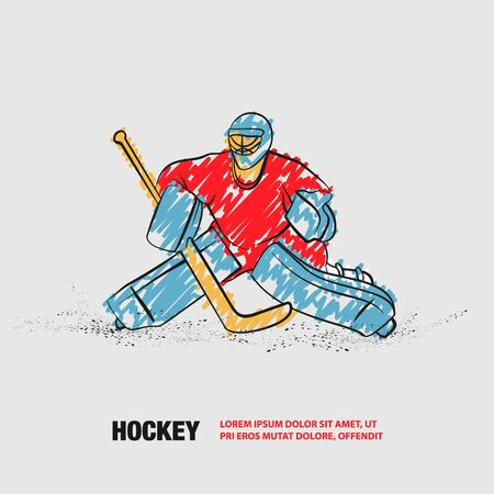 Hockey goalie positioning. Vector outline of hockey player with scribble doodles. Stock Illustratie