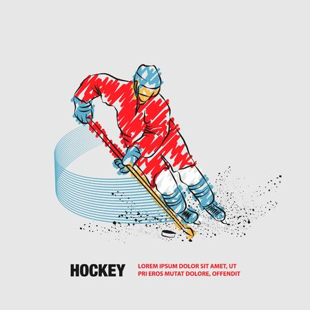 Hockey player in dynamic gliding on ice with a hockey stick and puck. Vector outline of hockey player with scribble doodles.