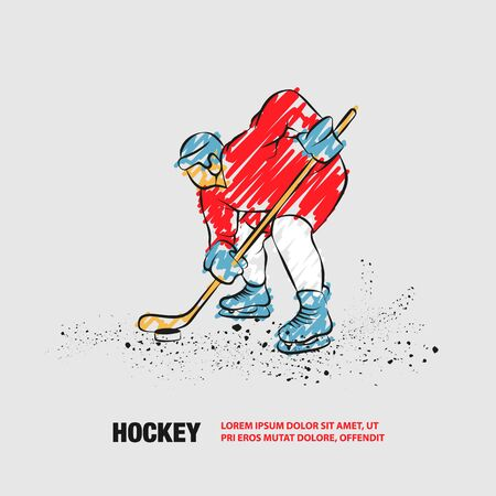 Hockey player ready to play. Vector outline of hockey player with scribble doodles. Иллюстрация