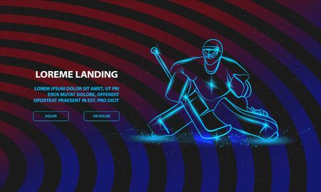 Hockey goalie positioning. Vector Sport Background for Landing Page Template.