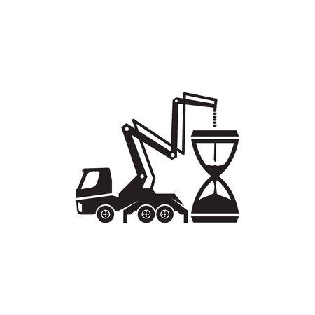 Concrete pump truck silhouettes . Concrete pump truck conveyed concrete on sand glass.