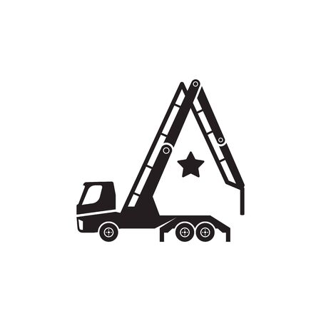 Concrete pump truck silhouettes . Looks like a letter A.