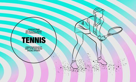 Professional woman tennis player standing ready for a serve. Vector outline of tennis sport illustration. Foto de archivo - 131357267