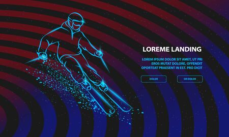 Skier on a mountain slope with snow spray. Vector Sport Background for Landing Page Template.