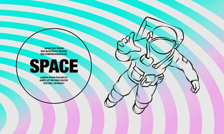 Astronaut flying in space. Vector outline of Space man illustration.