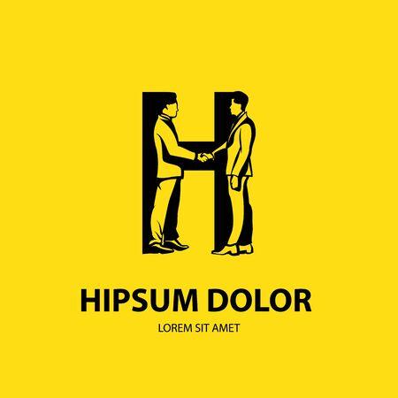 Two vector silhouette businessman handshaking it is looks like H letter Illusztráció