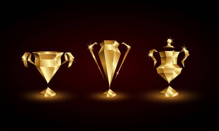 Golden Low Poly Soccer Cups Set. Abstract Polygonal 3D Football Trophy of Euro, Champions, Nations League. Иллюстрация