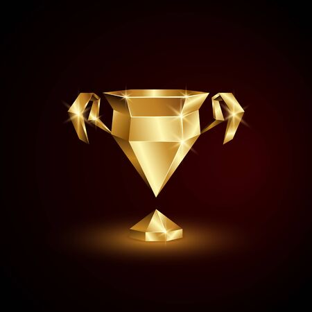 Golden Low Poly Champions Cup. Abstract Polygonal 3D Soccer League Trophy on Black Background.