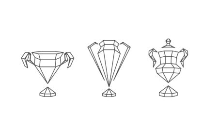Polygonal Winner Cups Set. Abstract Linear Grid Sports Trophy.
