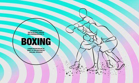 Boxer has hit and the opponent falls in knockout. Vector outline of boxing sport illustration. Ilustração
