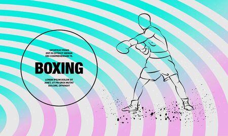 Boxer athlete hitting. Vector outline of boxing sport illustration.