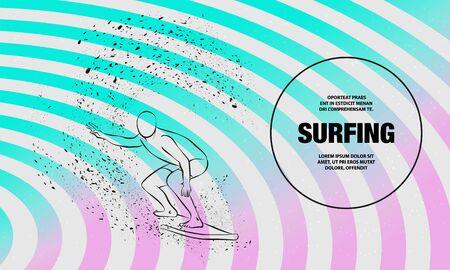 Surfer under the wave. Vector outline of surfing sport illustration.