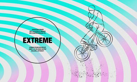 Trick on the BMX bike. Vector outline of extreme cyclist illustration.