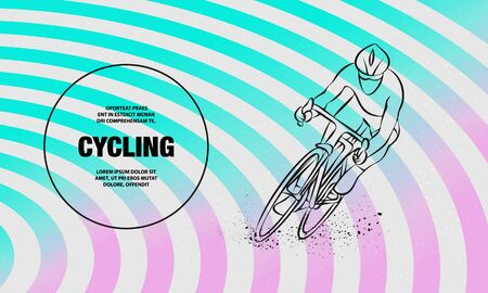 Cycling race. Vector outline of Cycling race sport illustration.