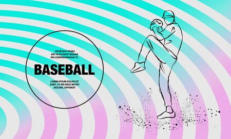 Baseball pitcher getting ready to throw ball. Vector outline of Baseball player sport illustration.