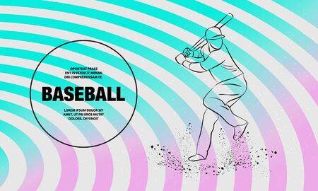 Baseball player with a bat. Vector outline of Baseball player sport illustration.