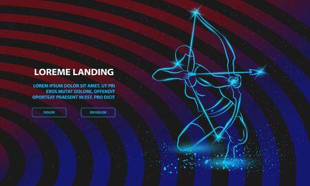 Archer girl with bow. Vector Sport Background for Landing Page Template. Ilustração