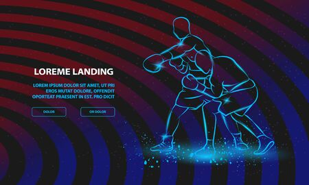 Boxer has hit and the opponent falls in knockout. Vector Sport Background for Landing Page Template.