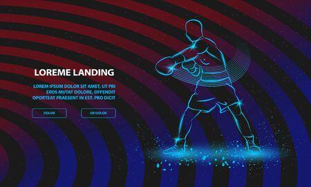 Boxer athlete hitting. Vector Sport Background for Landing Page Template. Ilustração
