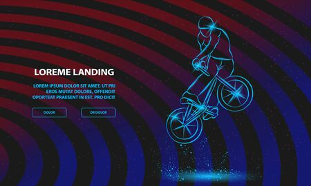 Trick on the BMX bike. Vector Sport Background for Landing Page Template.