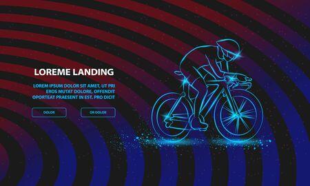 Cycling race. Vector Sport Background for Landing Page Template. Ilustração