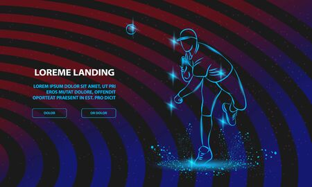 Baseball pitcher throws ball. Vector Sport Background for Landing Page Template.