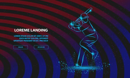 Baseball player with a bat. Vector Sport Background for Landing Page Template.