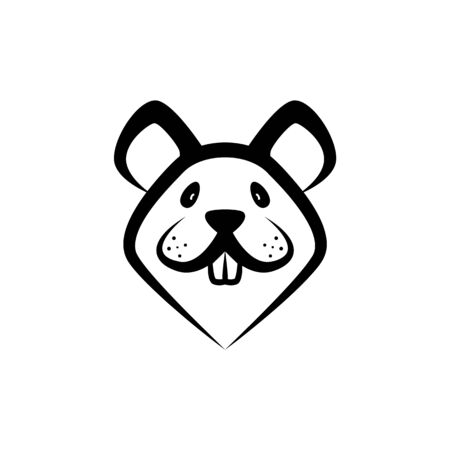 Funny Rat Muzzle icon, Front View. Vector Linear Mouse Face as a Symbol of Chinese New Year.