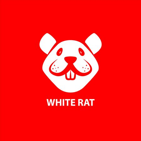 White Funny Rat Muzzle on a red background. Front View. Vector Linear Mouse Face as a Symbol of Chinese New Year.