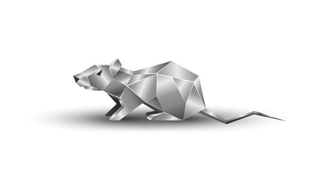 White Polygonal and Metal Rat as a Symbol of Chinese New Year. Vector Sitting Mouse with Metal texture on White Background as Invitation Template for New Year Party.