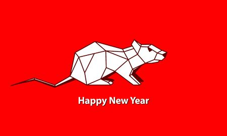 White Polygonal Sitting Rat as a Symbol of Chinese New Year. Vector Linear Mouse on Red Background as Invitation Template for New Year Party. 向量圖像