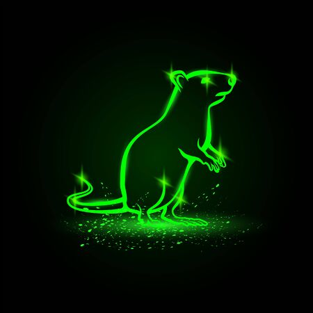 Vector green neon standing rat on hind legs. Rat as a symbol of New Year. Ilustração