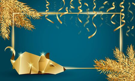Christmas and New Year Template background with Golden Fir Branches, Golden Rat And Serpentine. 向量圖像