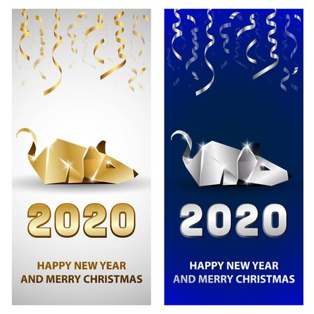 Golden and Silver Rat as a Symbol of Chinese New Year 2020. Origami Mouse with Metal texture and Serpentine Decor for New Year Party Invitation Templates set