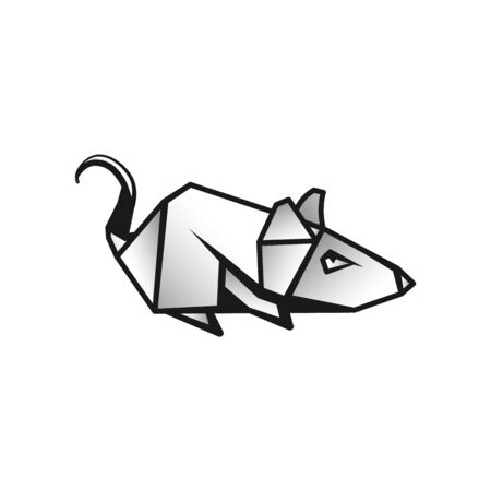 Linear Rat as a Symbol of Chinese New Year.  Polygonal Mouse Icon on White Background